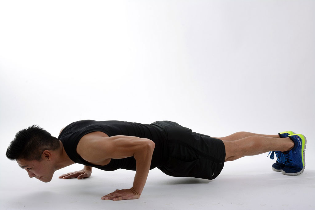 The Bottom of the Press up position of the Burpee Exercise