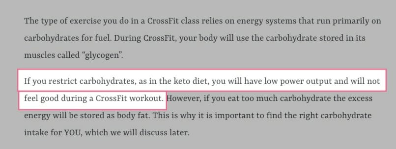 keto is bad for crossfit ? bloggers writing about low carbohydrates