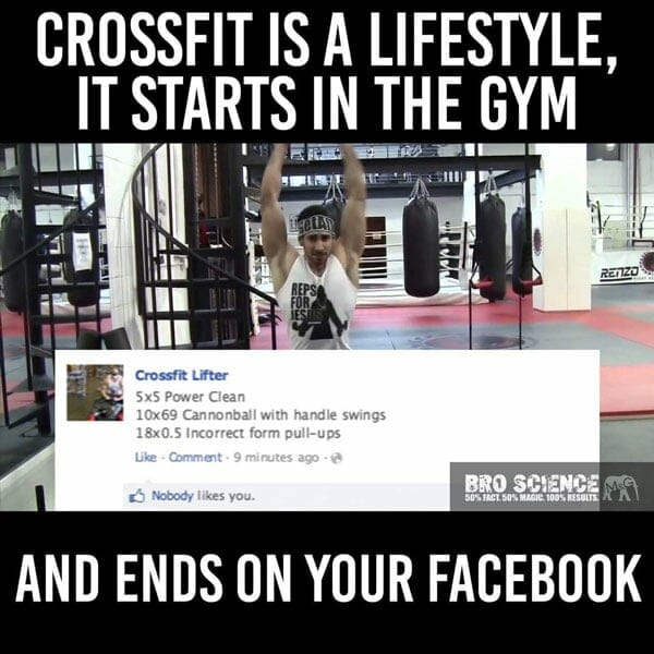 Crossfit funny meme about lifestyle by BroScience